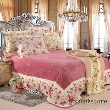 Floral Patchwork Bedspread Pillow Shams 3Pcs Flannel Fleece Quilted Bedding Set