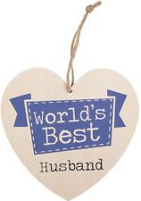 Worlds Best Husband Hanging Wooden Heart Plaque Sign