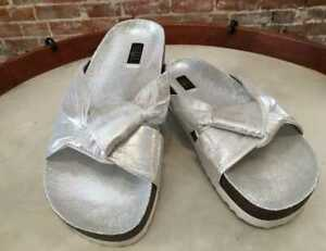 G.I.L.I. Silver Shimmer Knotted Strap Pearlia Slide Sandals New Gili