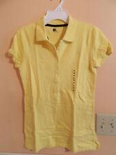 NWT Gap ladies short sleeve yellow pique 1/2 button polo; size M