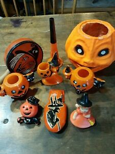 HALLOWEEN VINTAGE CANDY CONTAINER LOT.  ALL Nice.  ROSBRO and more 9 pcs.
