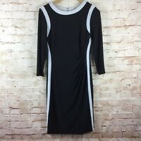 Chaps Womens Black White Trim 3/4 Sleeve Gathered Dress Size Medium