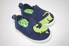 Baby Boys Shoes NAVY BLUE Casual Loafers GREEN DINOSUAR Easy Fasten SIZE 4