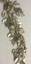 New 6ft Laurel Leaf & Ball Garland Christmas Decoration CHAMPAGNE