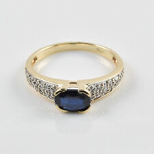 Authentic 14k Yellow Gold Oval Faceted Blue Sapphire Diamonds Ring Size 7.25