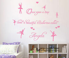 Custom Personalised Name Ballerina Ballet Dancing Wall Art Sticker Nursery Decor
