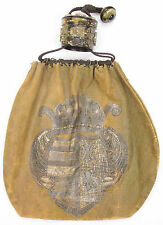 Antique Chinese Qing Large Leather Bag Amber Horn Toggle China 19th Century Old