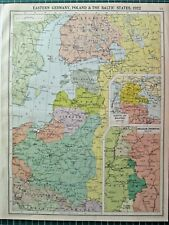 HISTORICAL MAP EASTERN GERMANY POLAND & THE BALTIC STATES 1922 LATVIA LITHUANIA