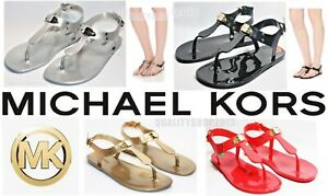 Michael Kors plate jelly pvc slide sandals black, silver, gold, and coral colors
