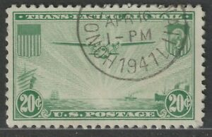 Scott C21 20¢ China Clipper over Pacific Air Mail Used Single Honolulu Cancel