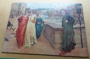 VINTAGE HAND-CUT WOODEN JIGSAW PUZZLE -  Beatrice and Dante - 561 Pieces