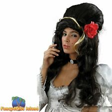 AMY WINEHOUSE BLACK WITH ROSE BEEHIVE POP STAR WIG Ladies Womens Fancy Dress