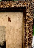 "ANTIQUE FANCY GILTWOOD & GESSO FRAME W/ Original Glass 16"" X 13"""
