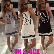 Womens Love Printed Short Mini Dress Summer Beach Long Tops T Shirt Size 6-18