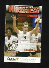 Northeastern Huskies--2004 Volleyball Pocket Schedule--Qdoba