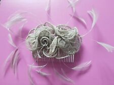 Fascinator For Hair Silver Floral Mesh With Grey Fine Feathers Comb Attached