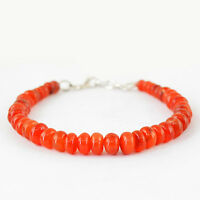 119.45 CTS NATURAL ROUND SHAPE ORANGE CARNELIAN UNTREATED BEADS BRACELET (DG)