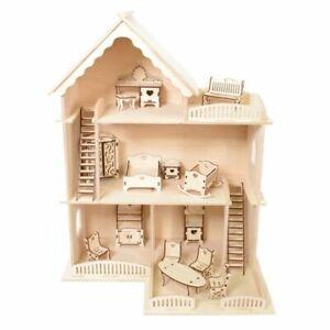 Puppenhaus Set aus Holz inkl. Mobiliar – Kreativ-Set