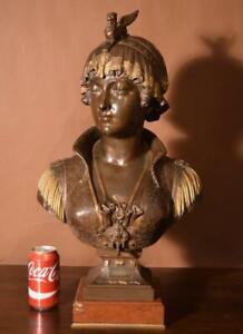 Antique Bronze Sculpture/Bust of a Beautiful Woman (Bianca) by Cesar Ceribelli
