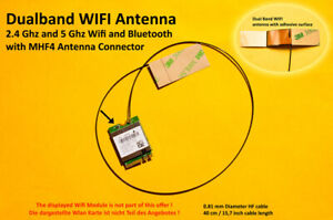 40cm MHF4 Laptop Embedded Dualband Antenna Antenne WIFI WLAN Bluetooth NGFF/M.2