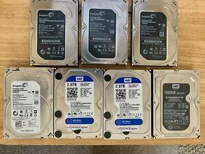 🔥 LOT of 7 Desktop Hard Drives 7200 RPM 3 Terabyte 2TB, 1TB Pulls Seagate WD