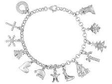 Bella Luce (R) 1.70ctw Rhodium Plated Sterling Silver Christmas Charm Bracelet
