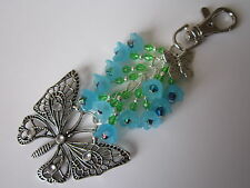 Keyring / Bag Charm - Tibetan Silver Filigree Butterfly & Forget-me-nots