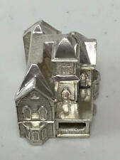 MINIATURE OBADIAH FISHER STERLING SILVER DOLLHOUSE 1989 NAME HOUSE PARTY GIFT