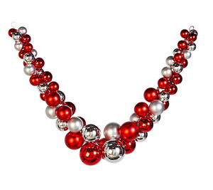 5' RED AND SILVER BALL GARLAND Pretty! Railing Mantle RAZ Imports G4032715 NEW