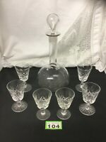 Antique Decanter Matched With 2 Of 3 Different Sized Cut Glass Crystal Glasses