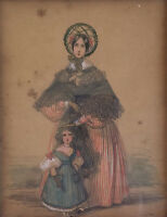 19th c. Pencil and Watercolor Painting of Woman w/ Girl , Signed A. Parrish
