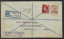 UK GB TANGIER 1950 REG IPSWICH WOODBRDGE RD CANCEL TO LONDON TANGIER FRANKINGS