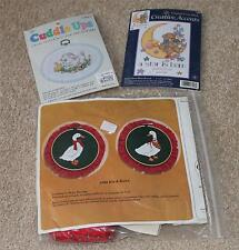 Two Cute Cross Stitch Kits PLUS #2309 Bibs and Bows Embroidery Kit! All 3 New!