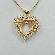 Diamond Heart Pendant 14K Yellow Gold 1.10Ct  3.8grams