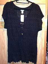 CACHE SHORT SLEEVE BLACK SWEATER SIZE L NEW WITH TAGS