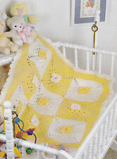 Crochet Pattern ~ Flowered Squares Baby Afghan ~ Instructions
