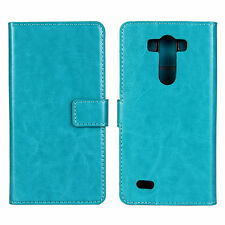 Turquoise Genuine Leather Wallet Card Cash Case Cover Stand for LG G3
