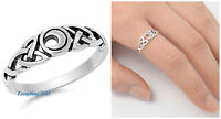 Sterling Silver 925 PRETTY CELTIC MOON DESIGN SILVER RING 6MM SIZES 5-10