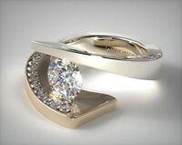 Fashion Women 18K Yellow Gold Filled White Topaz Wedding Engagement Ring Sz 6-10
