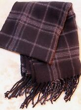 Dockers Plaid Scarf Black Charcoal Gray Fringed