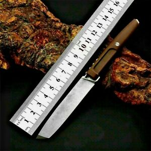 Straightback Knife Fixed Blade Hunting Combat Wild Tactical D2 Steel G10 Handle