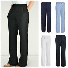 Quality UK Brand Ladies Linen Trousers Elastic Waist Size 16 18 Reg Long Length