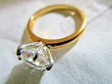 Ring 1/4 inch Solitaire Cz Radiant Stone Paj Cz 925 Sterling Silver Gold Color