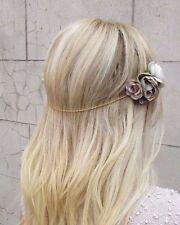Grey Gold Rose Flower Chain Clip Headband Hair Crown Festival Headpiece Vtg 2997