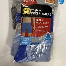 Hanes Mens 9-Pack Cotton Tagless Boxer Briefs Wicking Assorted Medium 32-34 A2