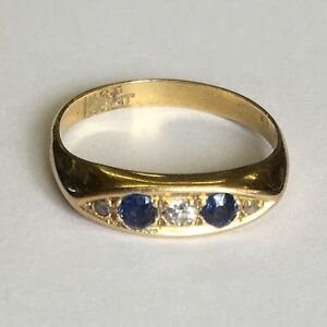 Antique Solid 18ct Gold Five 5 Stone Diamond & Sapphire Dress Ring Size M 1/2-N