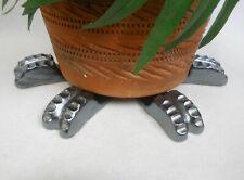"POT FEET Ceramic Flower Planter Risers ""Ridged"" Design Metallic Silver 4 pcs"