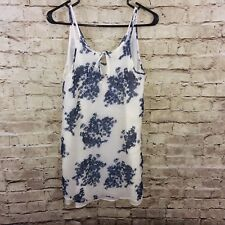 Lucky Brand Crinkle Blue Cream Spaghetti Strap Dress Size XS