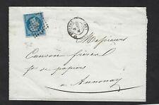 N° 14e bleu sur lilas type I,lettre de St Etienne 4 mars 1858,,cote 80€