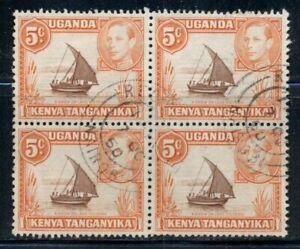 KENYA UGANDA TANGANYIKA 68 SG133 Used 1949 5c KGVI Dhow Per13X11&1/2block Cat$30